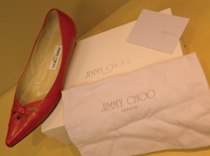 Jimmy Choo shoe and packaging