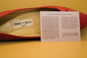 Jimmy Choo shoe and care card
