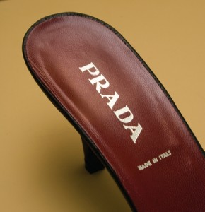 Prada label on shoe