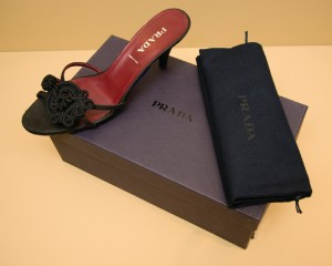 Prada shoe and packaging