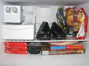 Shoes in freezer